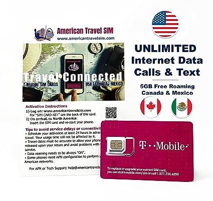 Sim Karte Internet.Prepaid Sim Karte Unbegrenzte Internet Daten Usa 5gb Roaming Kanada Und Mexiko Unbegrenzte Anrufe Und Texte