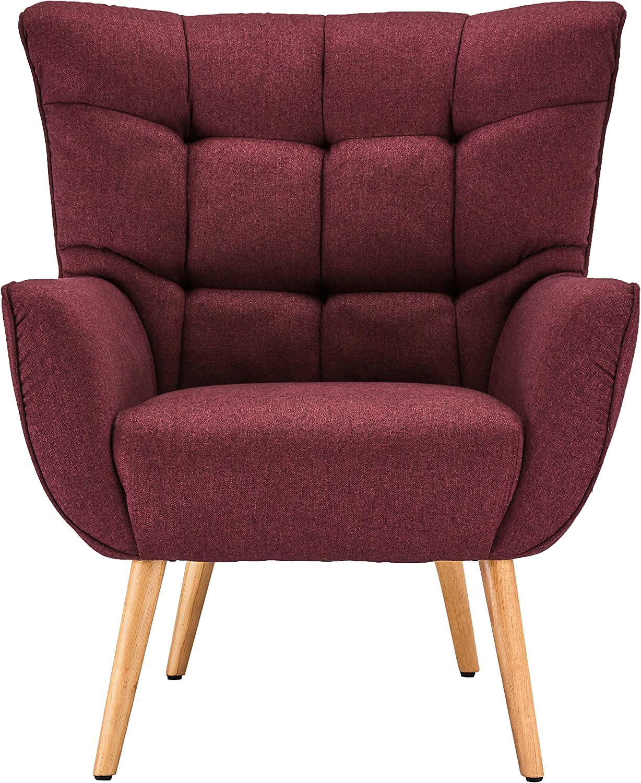 Sitzh/öhe 47 cm Ibbe Design Bordeaux Bequem Ohrensessel Retro Lounge Sessel Skandinavisch Lesesessel Stoff mit Armlehnen Bruno 83x86x97 cm