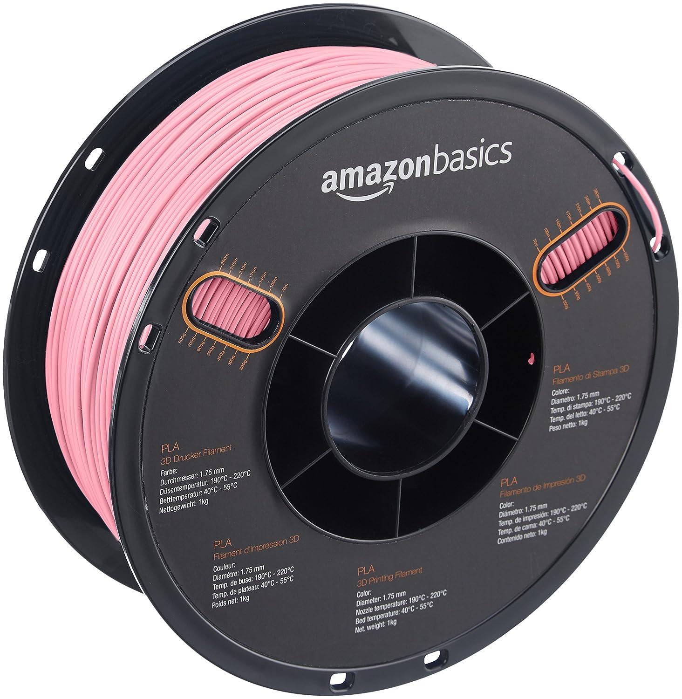 AmazonBasics – Filamento de PLA para impresora 3D, 1,75 mm, Rosa, bobina de 1 kg
