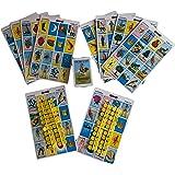 Lotería Mexicana Mediana 10 Tablas o Cartas, Fichas Incluidas (21.5 X 13.5 Cms) Incluye: 80 Fichas para Marcar las Imágenes que ya Salieron - Cancionero - 54 Barajas Loteria Mexicana Auténtica