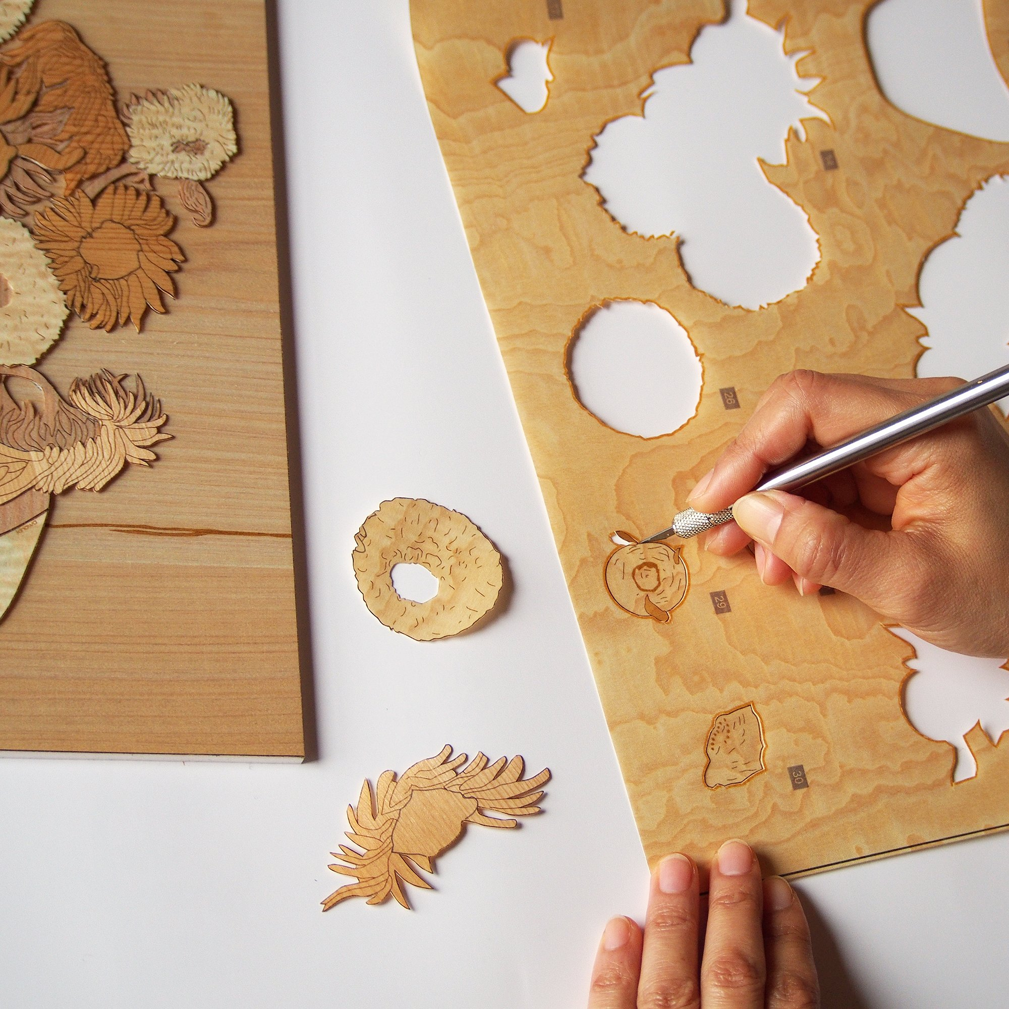 KINOWA Wooden Art Kit Kiharie Sunflowers Made in Japan by KINOWA (Image #4)
