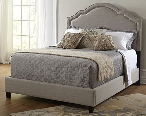 Pulaski Patterson Upholstered Bed Shaped Nailhead, King, Taupe