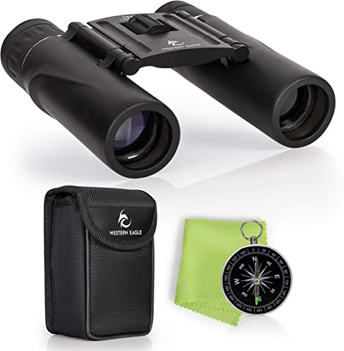 Compact Binoculars for Adults Lightweight – 10×25 – Binoculars for Kids – Perfect for Bird Watching, Hunting, Stargazing, Opera, Concerts, Sports, Hiking Outdoors and Travel – Includes Compass
