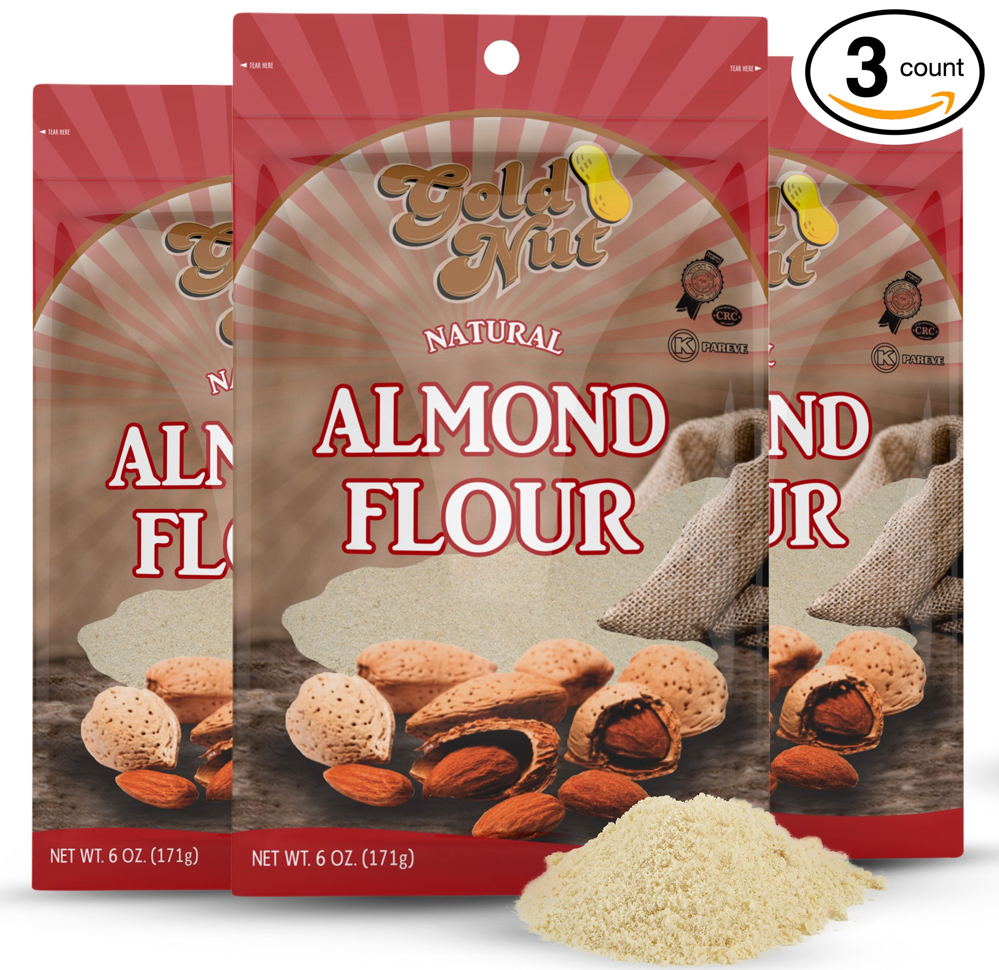 Gold Nut Blanched Almond Flour 18 oz – Grain and Gluten Free, All Natural, Low Carb - 100% Super Fine Ground Almonds For Baking and Cooking – 3 x 6oz Bags with Zip-Top for Freshness