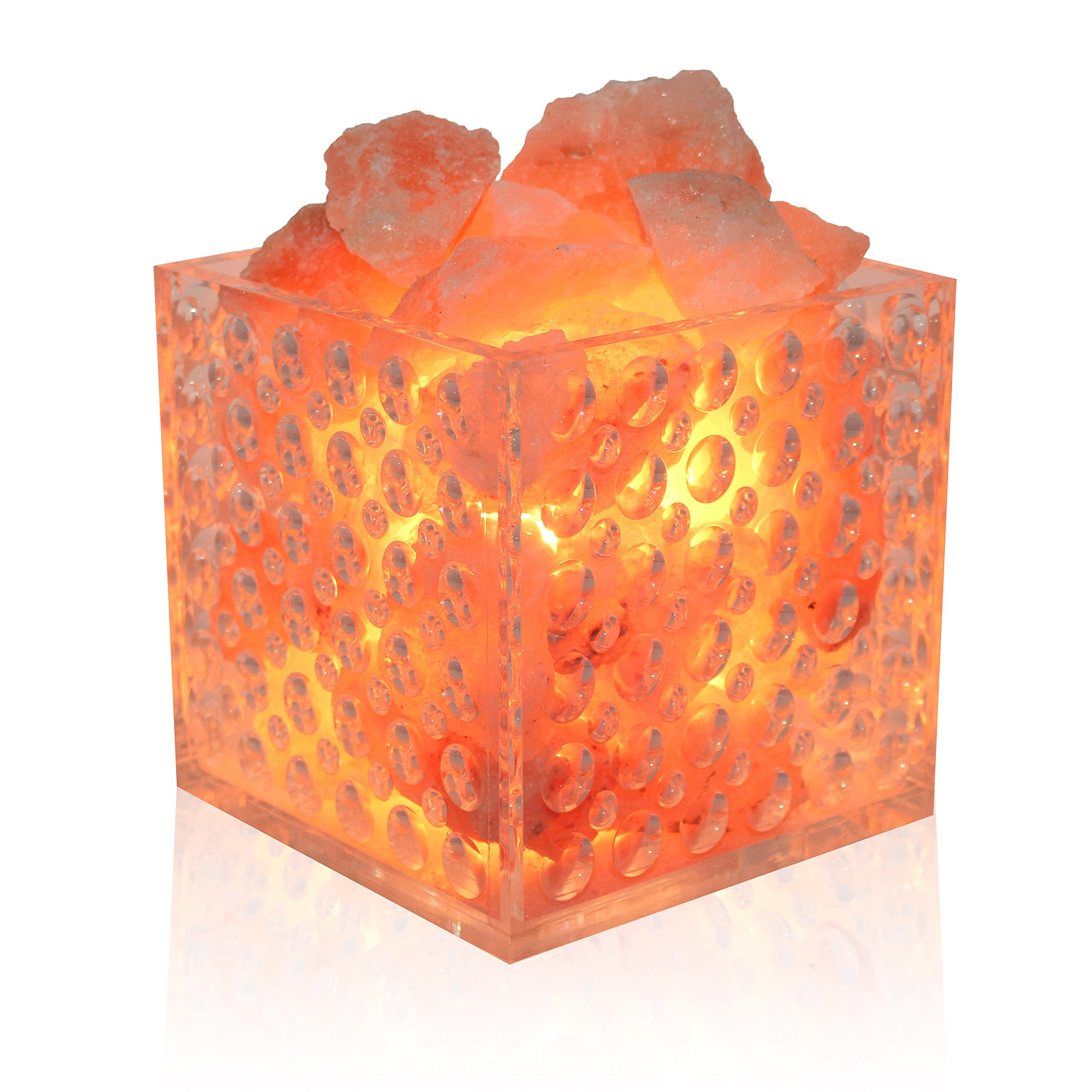 UMAID Pure Natural Himilian Himalayan Sea Rock Salt Lamp (Spa Style). With Pink Salt Massage Crystals in a Modern Acrylic Basket Salt Lamp 2 Bulbs, UL-Approved Accurate Dimmer Cord.