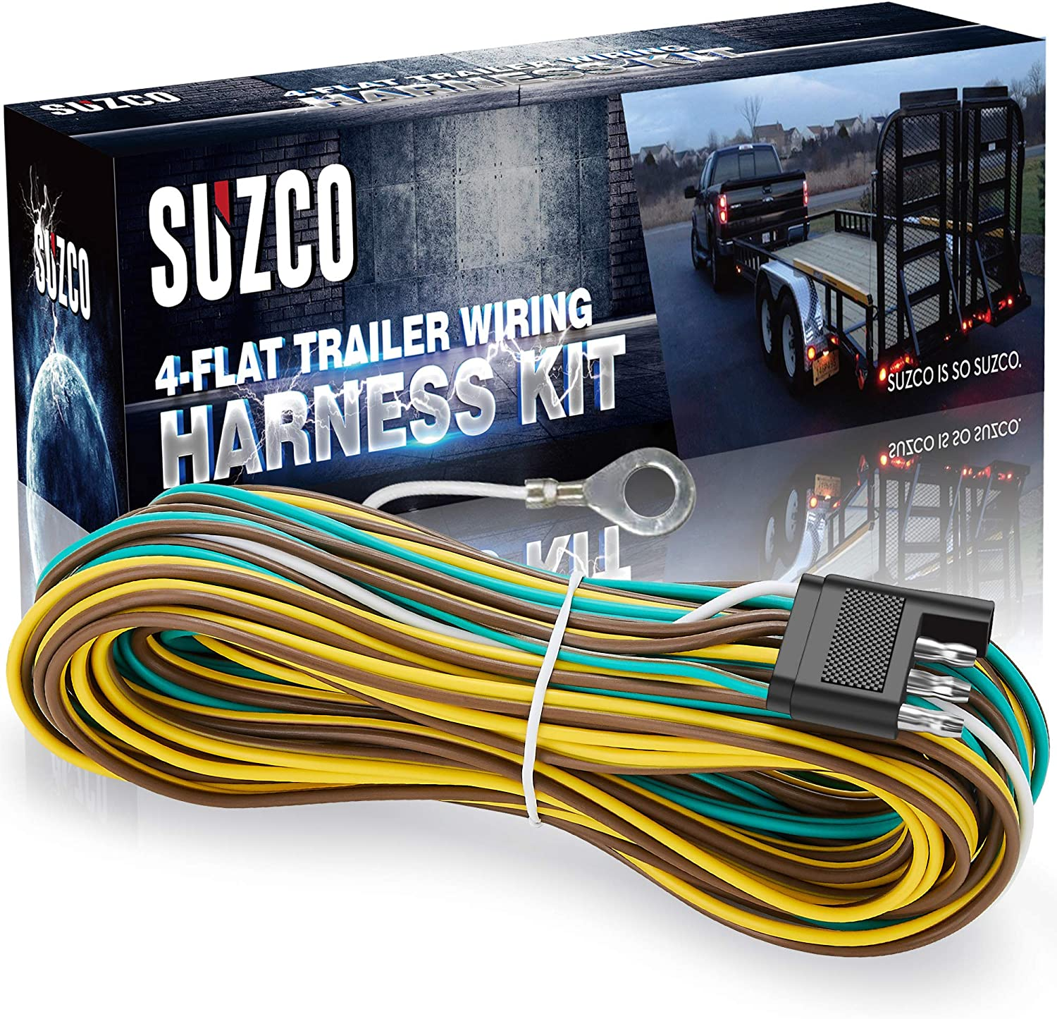 Amazon Com Suzco 36 Ft 4 Wire 4 Flat Trailer Light Wiring Harness Extension Kit Custom Made 28 Male 8 Female With 4 White Ground Wire 4 Way Plug 4 Pin Male Female Extension