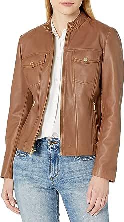 Cole Haan Women's Leather Trucker Jacket