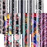 10 Pieces Flower Heat Transfer Vinyl 3D Pattern Heat Transfer Vinyl 12 x 10 Inches Pattern Iron on HTV Heat Transfer Vinyl fo