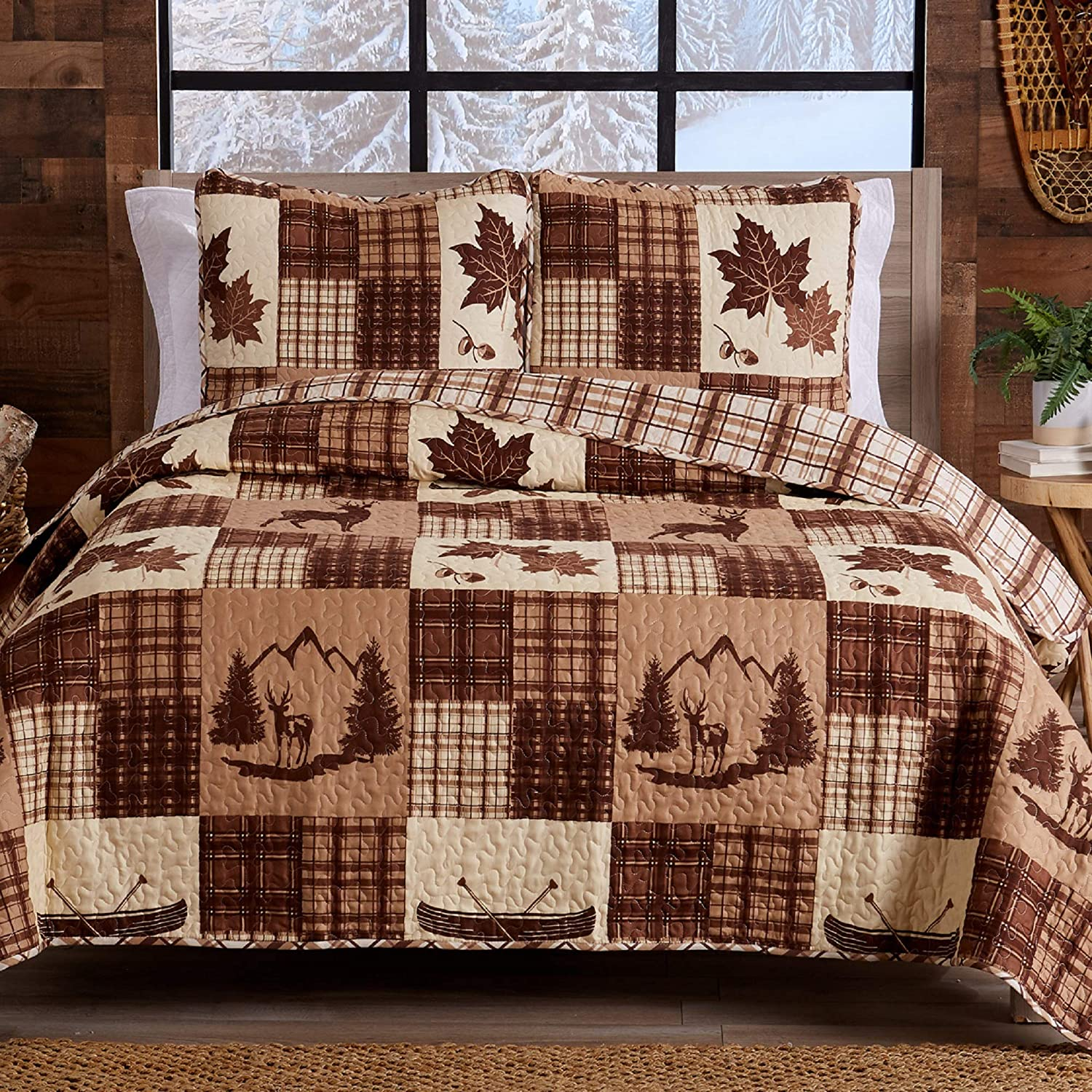 Lodge Bedspread Twin Size Quilt with 2-Piece Sham. Year-end gift Ranking TOP13 Rever 1 Cabin