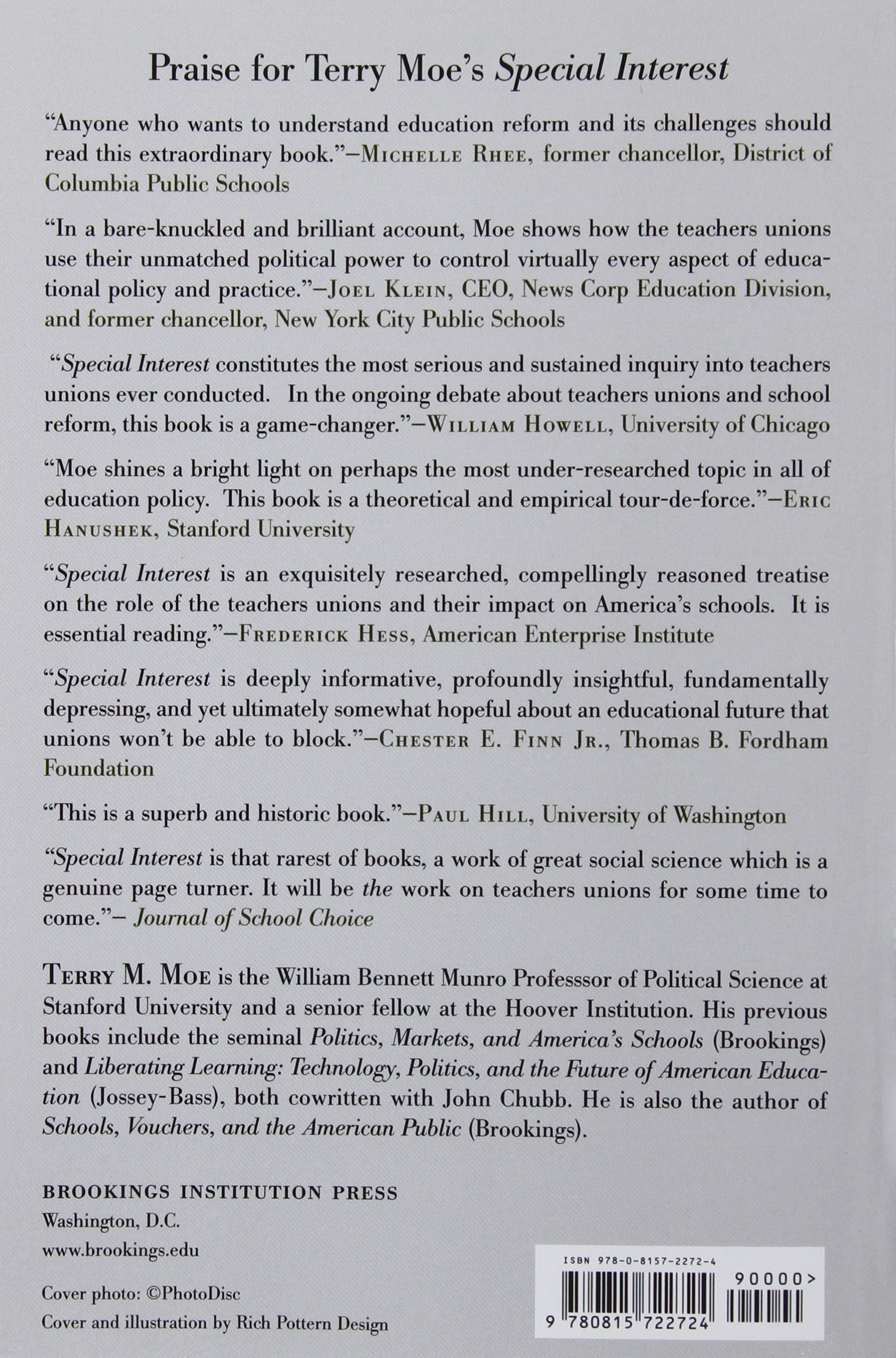 special interest teachers unions and america s public schools special interest teachers unions and america s public schools terry m moe 9780815722724 amazon com books