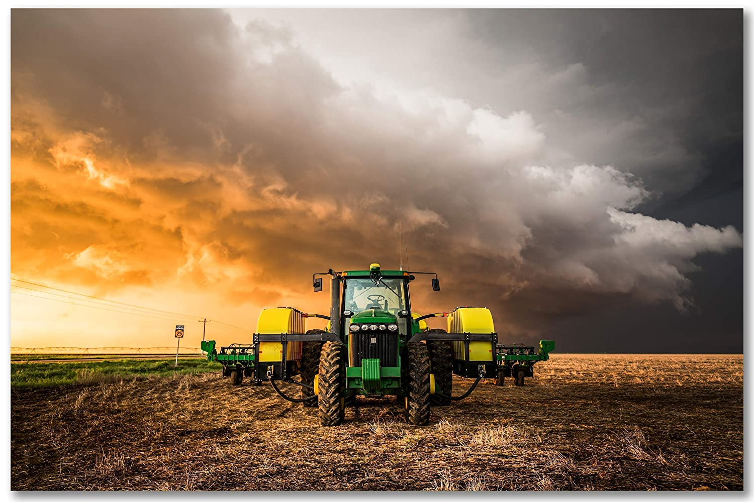 Farm Wall Art Photography Print - Picture of Tractor and Storm in Golden Sunlight in Kansas - Unframed Country Farmhouse Photo Artwork Decor 5x7 to 40x60