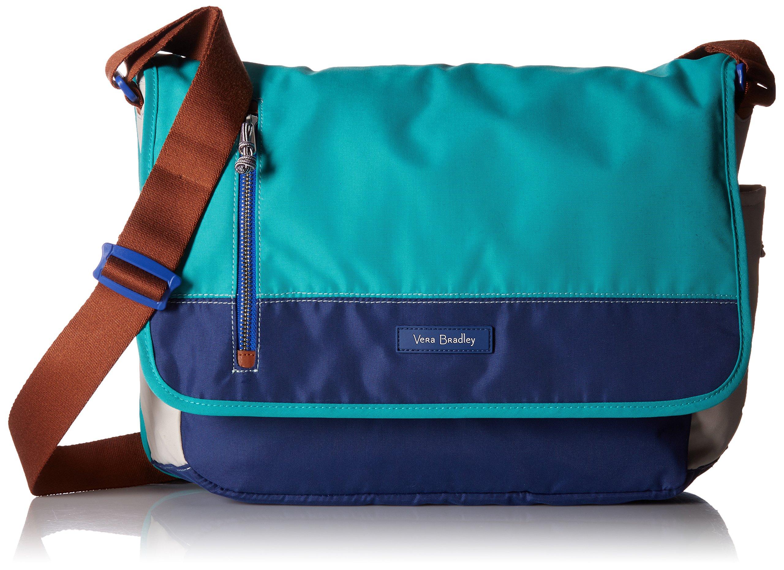Laptop Messenger Lighten Up Messenger Bag, Cool Lagoon, One Size by Vera Bradley