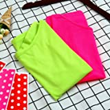 Coobey 2 Pack 80's T-Shirt Neon Colour Off Shoulder Shirts 1980's Costume Tops 80s Party Accessories Set, Green and Hot Pink