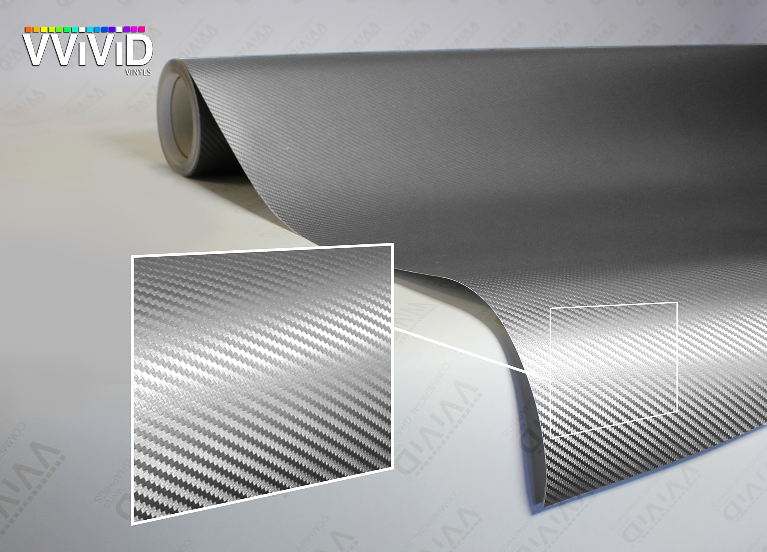 VViViD XPO Sterling Silver 3D Carbon Fiber Vinyl Wrap Roll with Air Release Technology (10ft x 5ft)