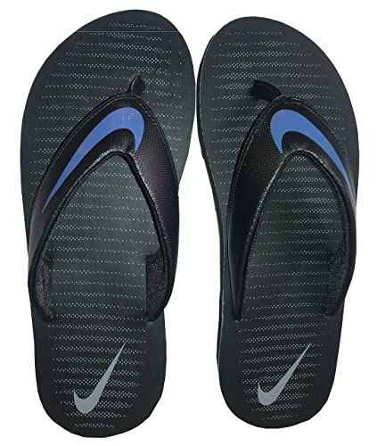 Nike Men's Chroma Thong 5 Black/Comet Blue - Cool Grey Flip Flops -7