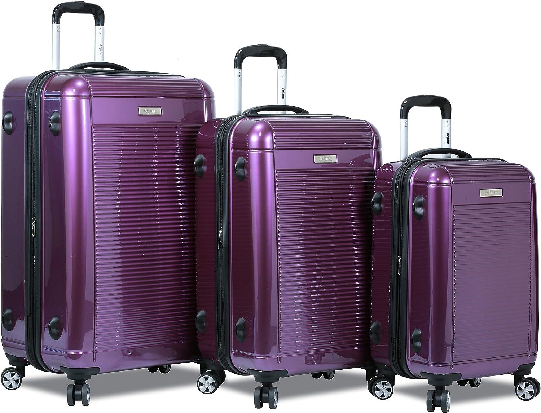 Dejuno 3 Pcs Set Polycarbonate Expandable Luggage Spinner Suitcase with TSA Lock, 28 , 24 20 PURPLE