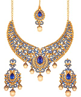 Touchstone Indian bollywood Kundan look blue/green bridal jewelry necklace in antique gold tone for women
