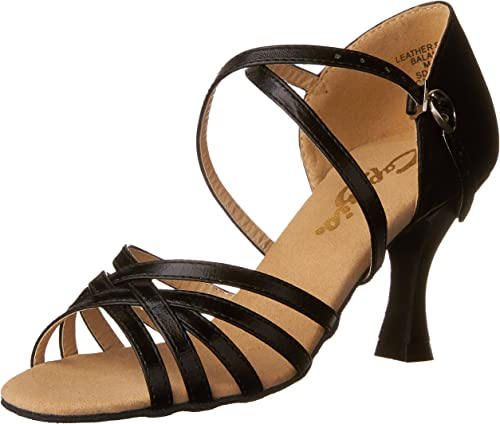 Womens Latin Ballroom Shoes Body Strap Peep-Toe Professional Dance-Shoes 004 Yellow US Size9 2IN