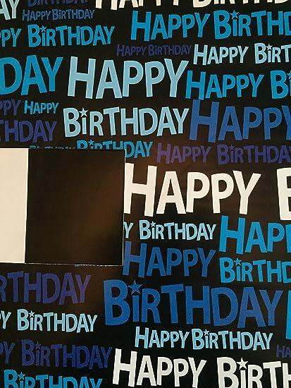 Para hombre/macho Negro/Azul Capital feliz cumpleaños papel ...
