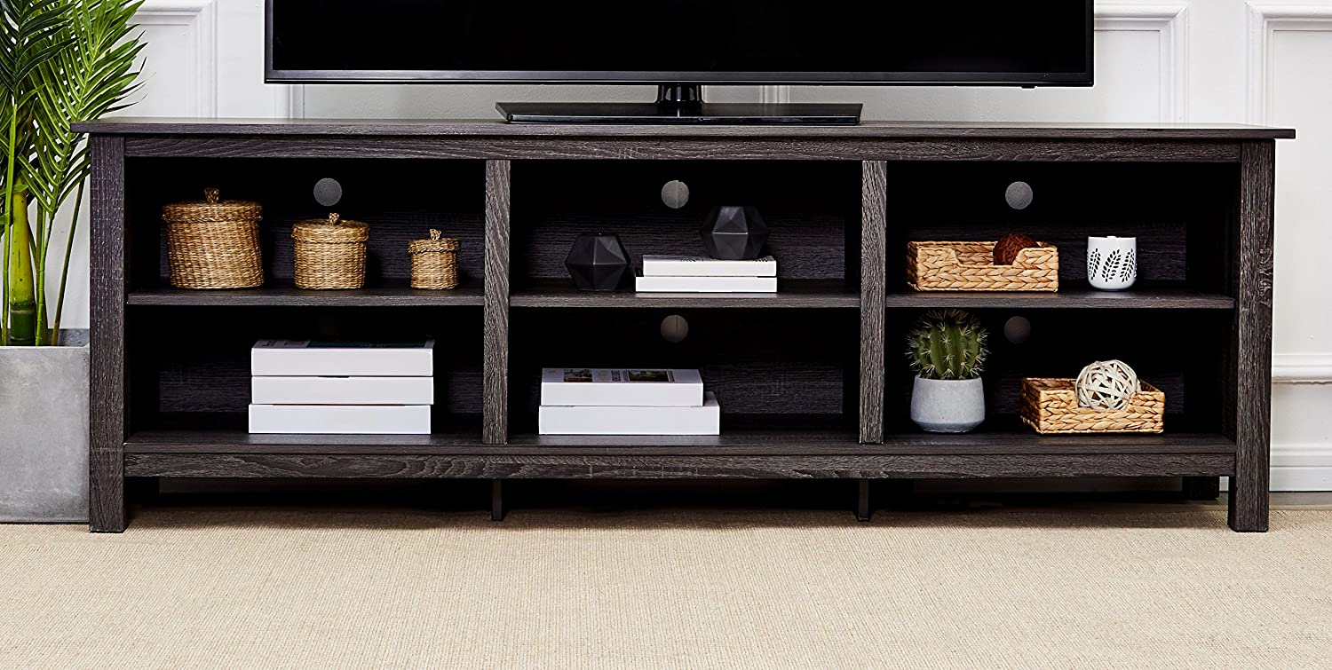 Amazon Com Rockpoint Argus Wood Tv Stand Media Console 70 Inch