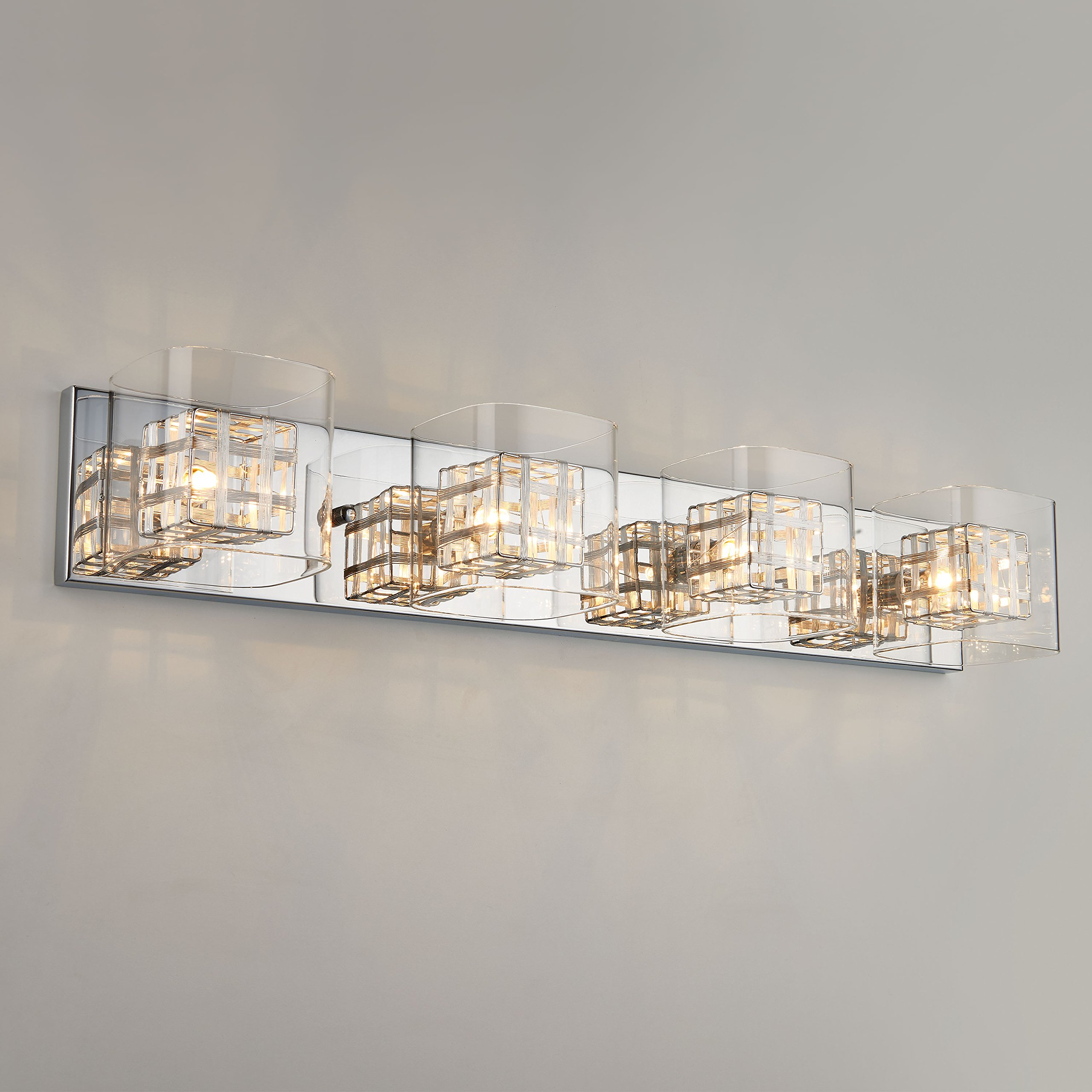 Artika VAN4M-HD1 Metropolitan 4-Light Bulbs, 30-inches Wall Fixture with Dimmable Light and a Chrome Finish by Artika (Image #3)