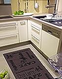 Misento Andiamo Alfombra de Cocina (Espresso Lavable Cocina Alfombra Certificado Oeko-Tex, Poliamida, marrón, 57 x 120 cm