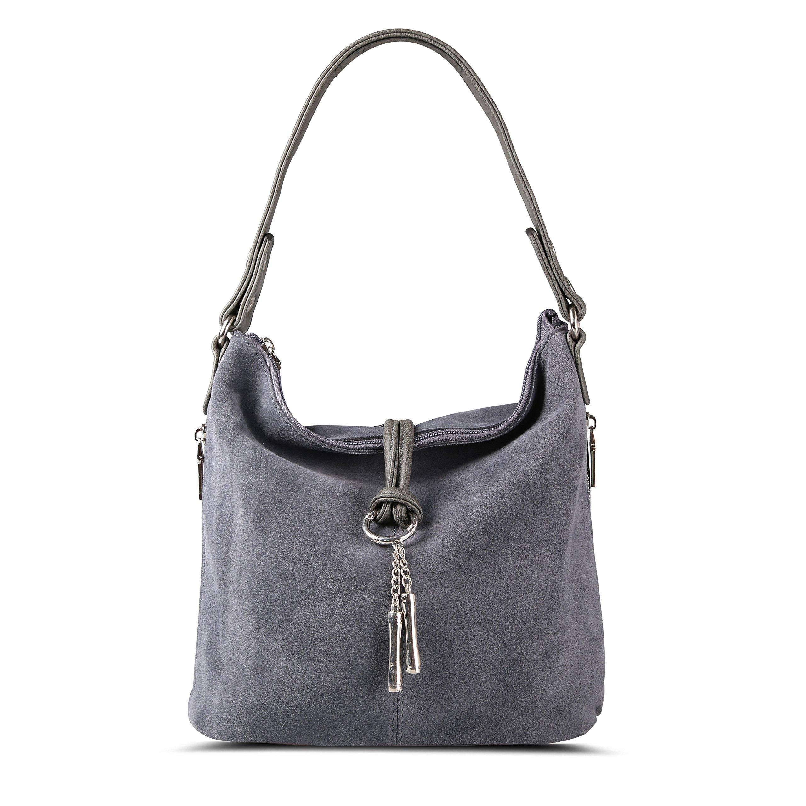 Nico Louise Women Purse Suede Split Real Leather Shoulder Bag Casual Crossbody Hobo handbag (LightGrey)