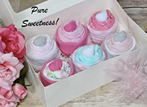 card baby clothes baby girl bodysuit onesie cupcakes 36 months new 9 pcs set 4  girl pink bodysuits washcloths unique baby shower gift