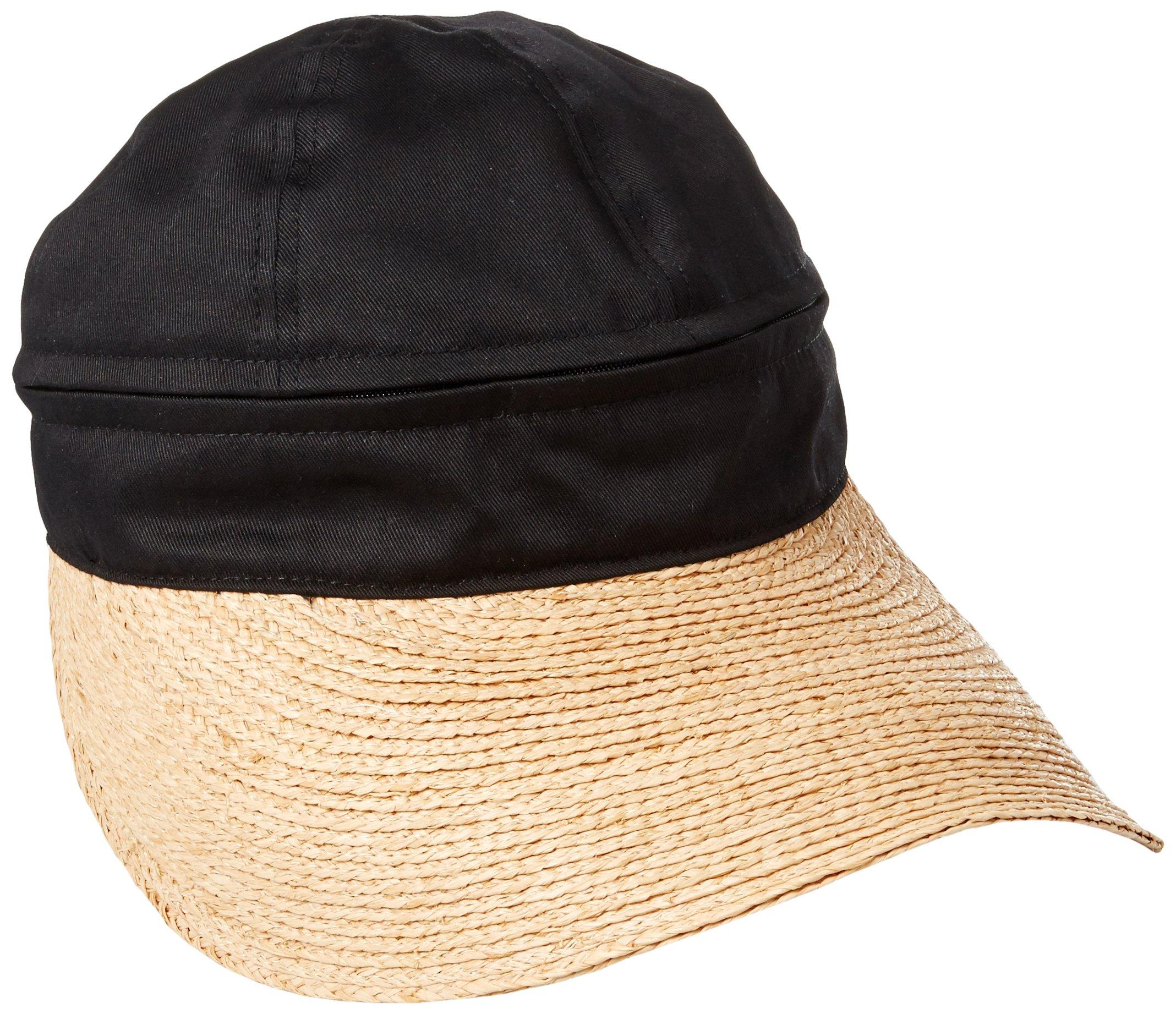 Gottex Women's Regatta Zip Off Crown Convertible Sun Cap With Large Peak Visor, Black, One Size by Gottex