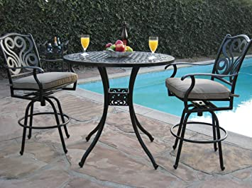 Outdoor Patio Furniture Cast Aluminum 3 Piece Bar Stool Table Set With 2  Arm Swivel Chairs