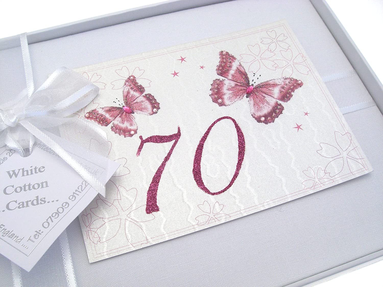 White Cotton Cards 70th Birthday Photo Album, Small, Butterfly   B0057DHC6K