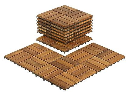 Bare Decor BARE WF2009 Solid Teak Wood Interlocking Flooring Tiles (Pack Of  10)