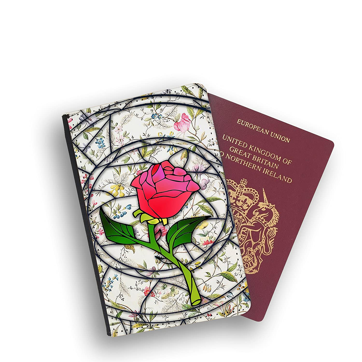 Stained Glass Enchanted Rose Beauty Beast Disney Passport Wallet