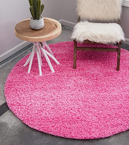 Unique Loom Solo Solid Shag Collection Modern Plush Taffy Pink Round Rug 8 2 x 8 2