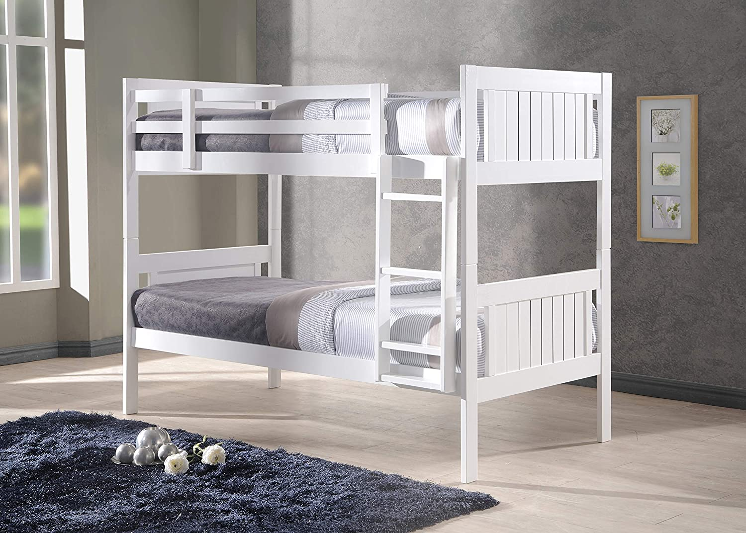 New Milan Wooden Kids Bunk Bed White Shaker Style Modern Childrens 3ft Single Bed Frame Bedroom Furniture Amazon Co Uk Kitchen Home