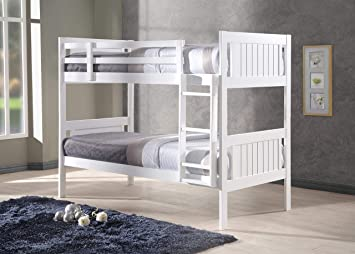 New Milan Wooden Kids Bunk Bed White Shaker Style Modern Childrens