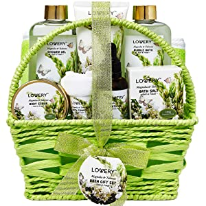 Bath and Body Gift Basket For Women and Men – Magnolia and Tuberose Home Spa Set, Includes Fragrant Lotions, Massage Oil, Bath Towel and More - 9 Piece Set