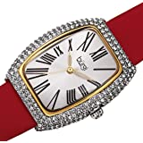Burgi BUR237 Swarovski Crystal & Diamond Accented Leather Strap Women's Rectangle Watch