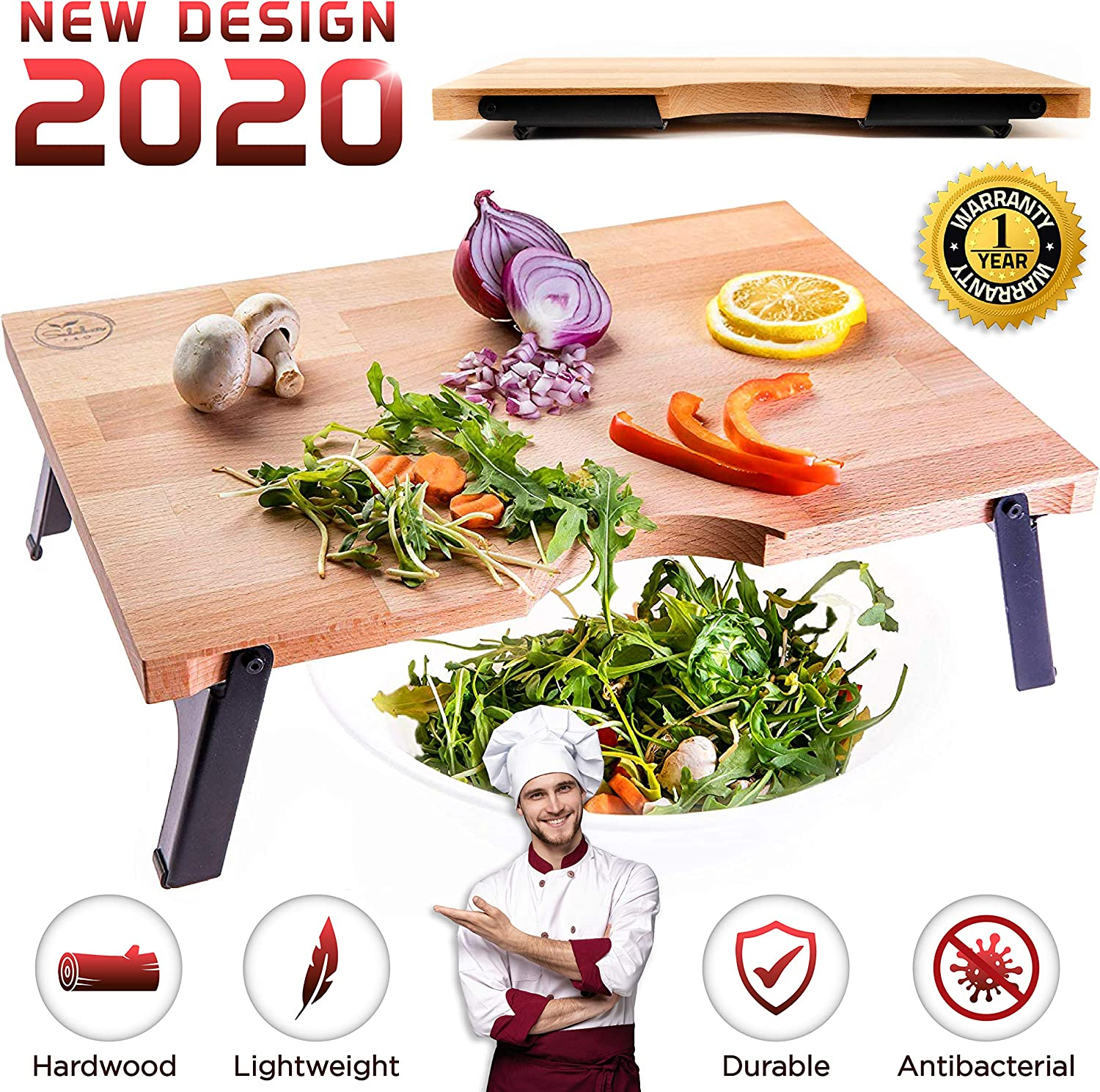 Salabar Raised Wood Cutting Board with Foldable Feet and Anti-Warp Bars, Pre-Oiled European Hardwood, Large Folding Wooden Chopping Board, Best Kitchen Gift, Chop into Bowl for No Mess Prepping