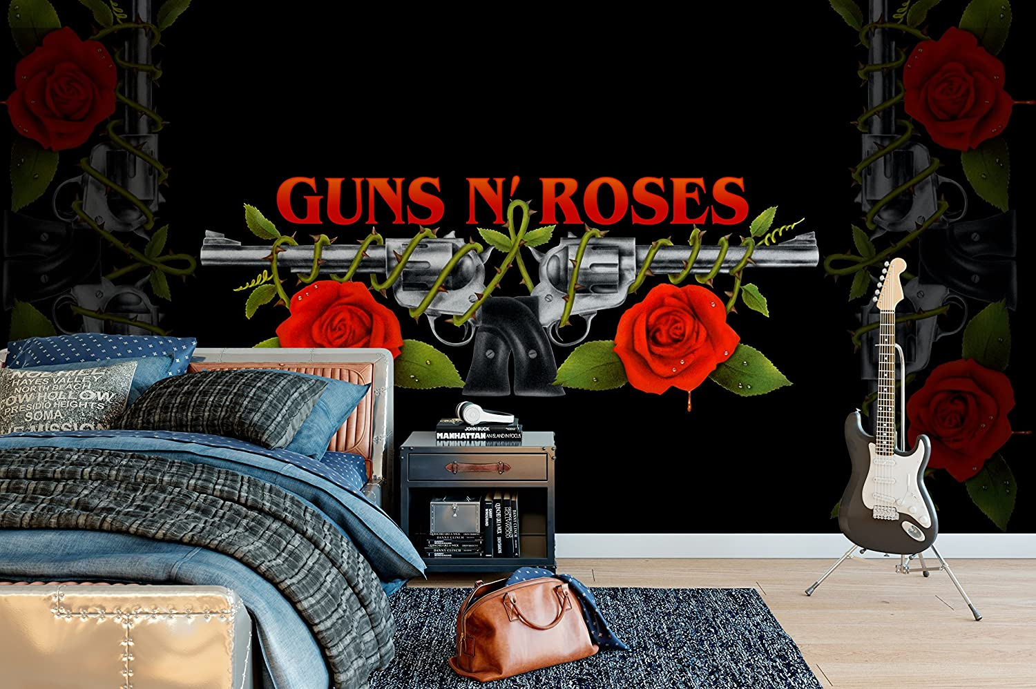 Officially Licensed Guns N Roses Logo Wall Mural Wallpaper 4m