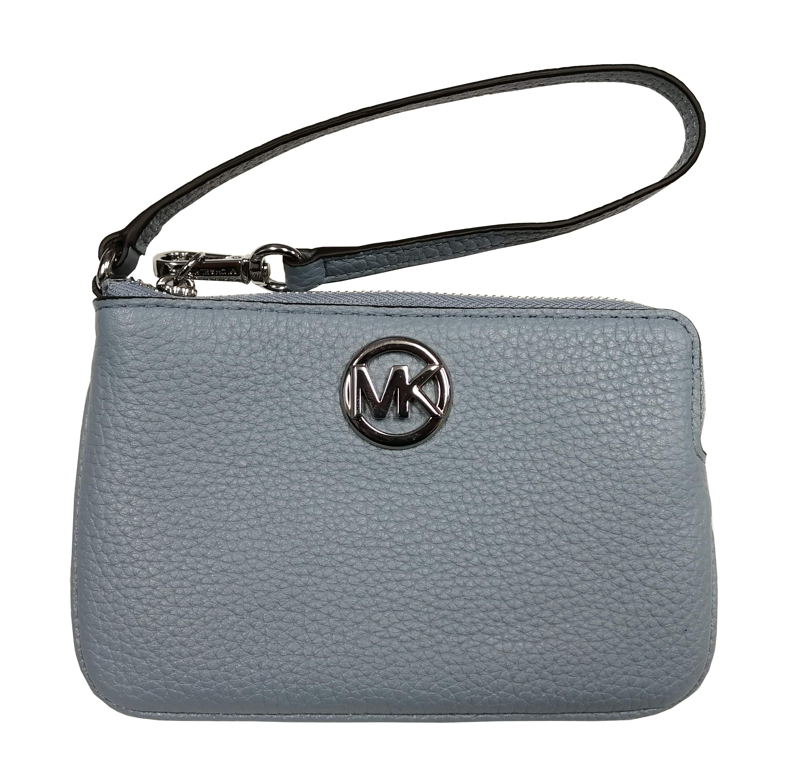 Michael Kors Fulton Medium Top Zip Wristlet Pale Blue