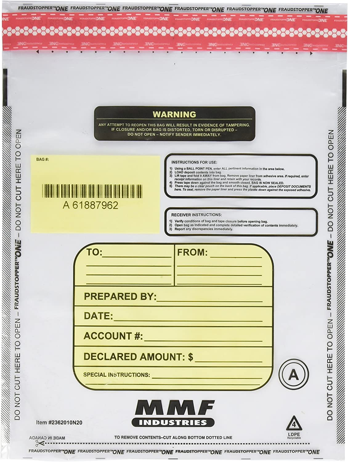 MMF Industries Tamper-Evident Deposit//Cash Bags Plastic 9 x 12 Clear 100 Bags