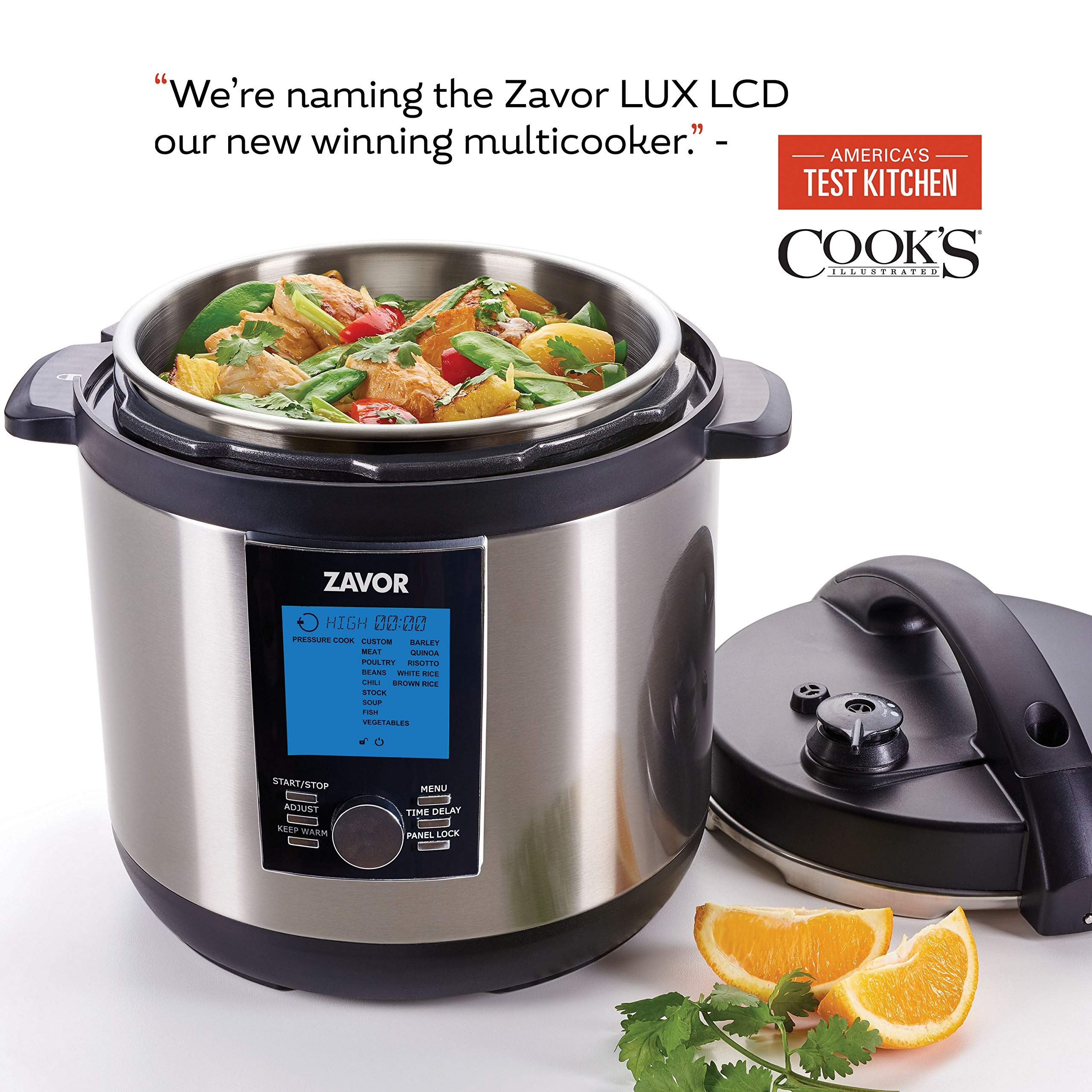 Zavor LUX LCD 8 Quart Programmable Electric Multi-Cooker: Pressure Cooker, Slow Cooker, Rice Cooker, Yogurt Maker, Steamer and more - Stainless Steel (ZSELL03) by ZAVOR (Image #2)