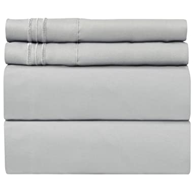 Full Size Sheet Set - 4 Piece Set - Hotel Luxury Bed Sheets - Extra Soft - Deep Pockets - Easy Fit - Breathable & Cooling - Wrinkle Free - Comfy – Light Grey Bed Sheets - Fulls Sheets – 4 PC