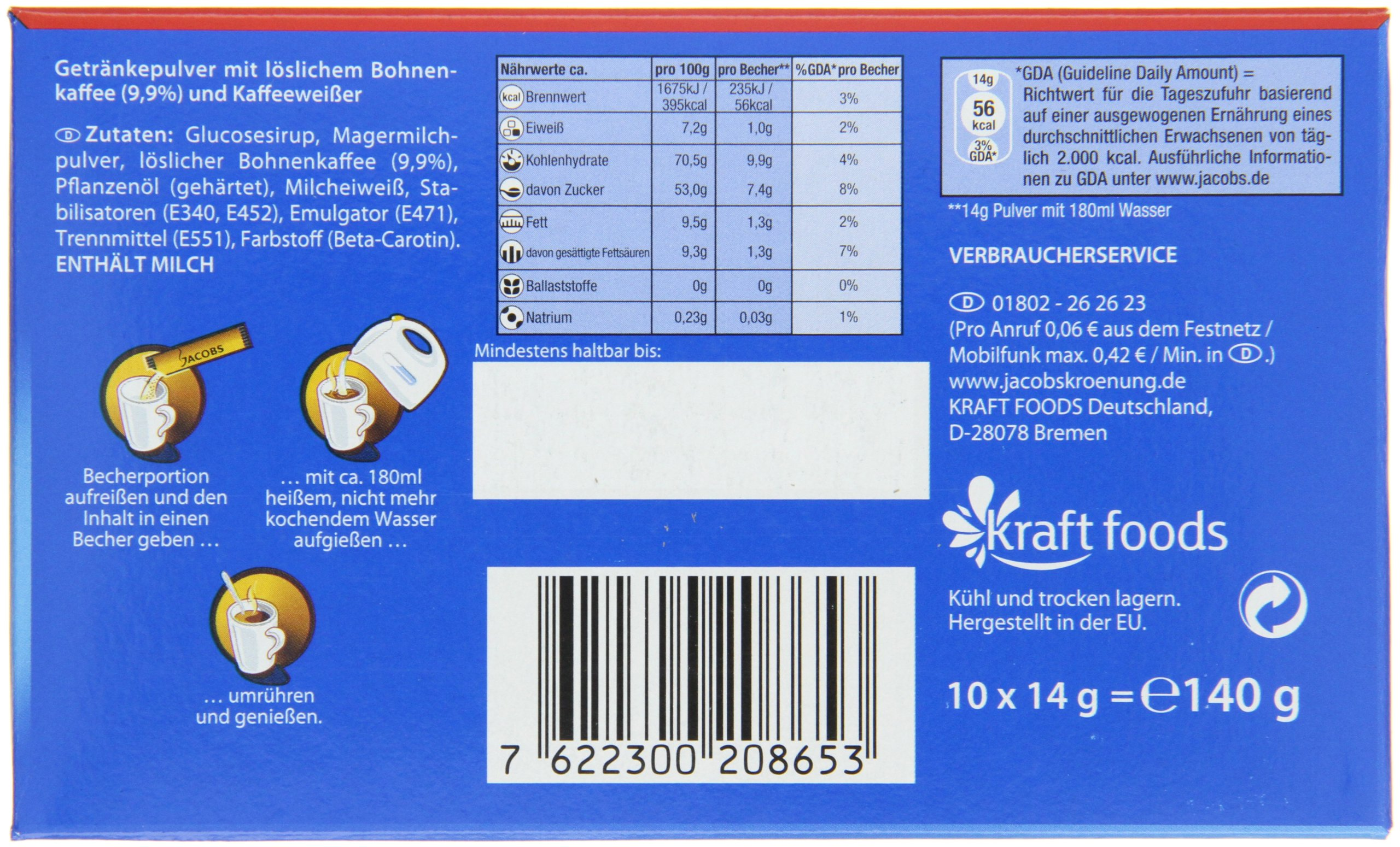 Jacobs 2in1 Instant Coffee Sticks, Pack of 12, 12 x 10 Single Servings by Jacobs