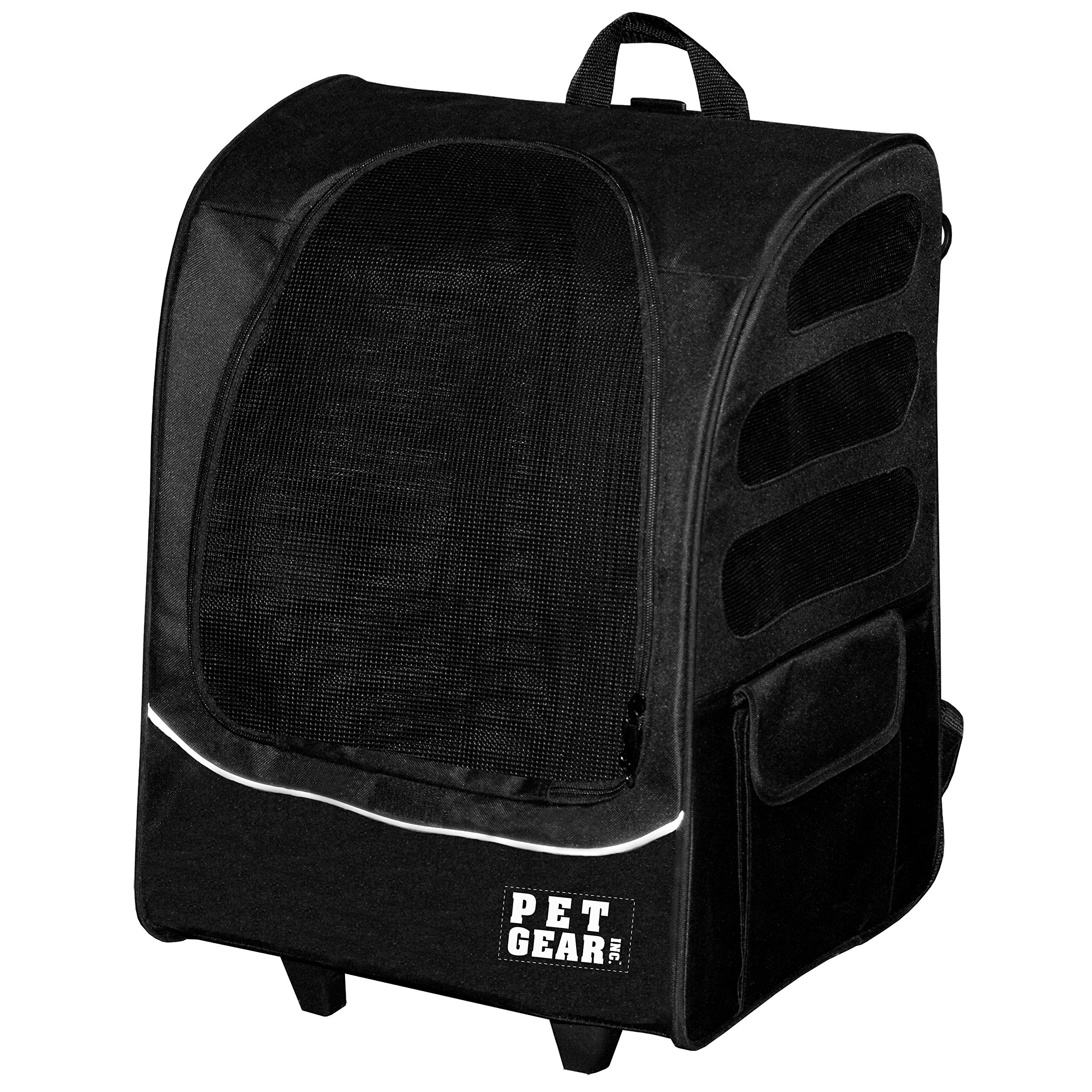 22x17.5x14 Inch Black 5-in-1 I -Go2 Traveler Plus Pet Backpack And Carrier With Wheels, Telescoping Handle Pets Upto 25 Lbs Removable Plush Pad Seat Belt Buckle Backpack Tote Or Rolling Case, Nylon