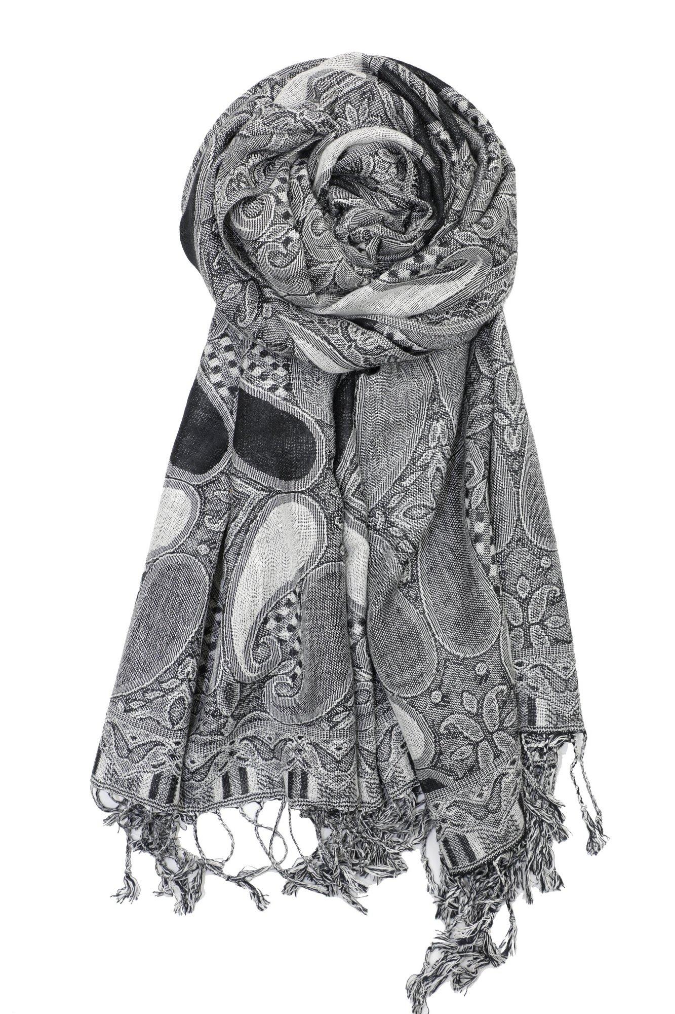 Achillea Soft Silky Multi Color Paisley Pashmina Double Layered Shawl Scarf Wrap Stole (Black White)
