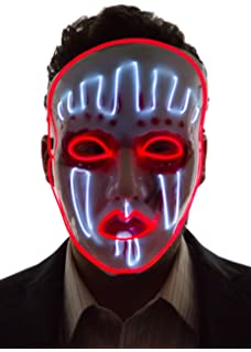 Neon Nightlife Mens Light up Painted Face Puppet Mask