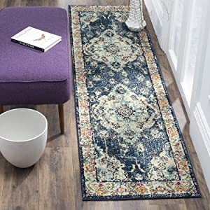 "Safavieh Monaco Collection Vintage Bohemian Navy and Light Blue Distressed Runner (2'2"" x 6')"