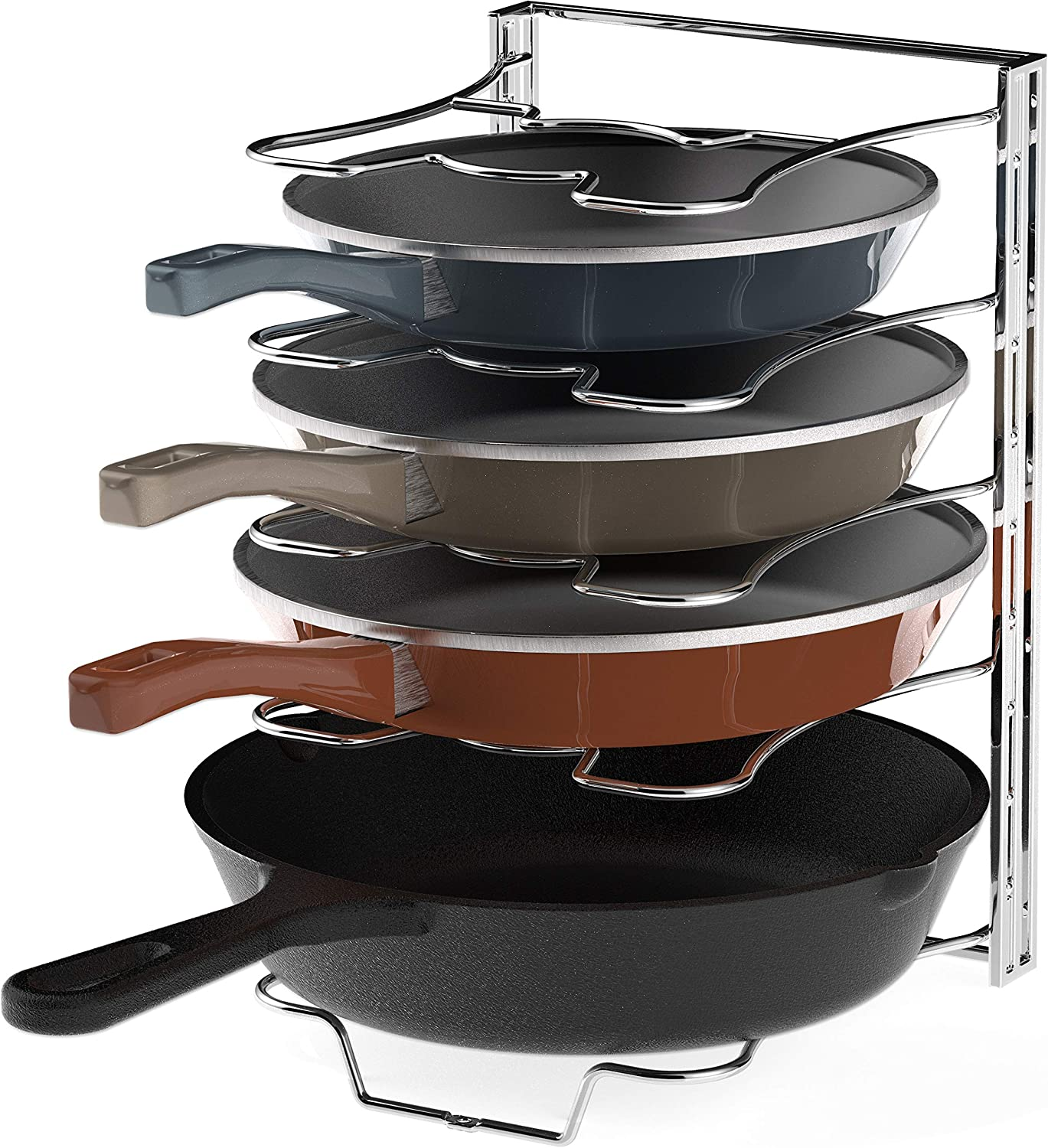 Simple Houseware Kitchen Cabinet 5 Adjustable Compartments Pan and Pot Lid Organizer Rack Holder, Chrome: Home & Kitchen